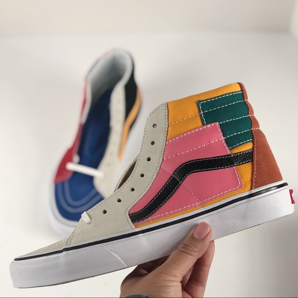238c7165ec1 Vans Sk8 hi top patchwork suede 7.5 men 9 woman s